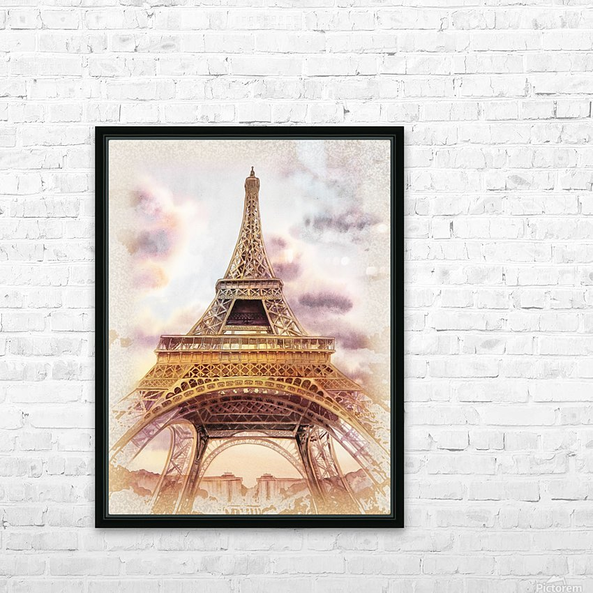 Vintage Paris Eiffel Tower Watercolor Painting HD Sublimation Metal print with Decorating Float Frame (BOX)