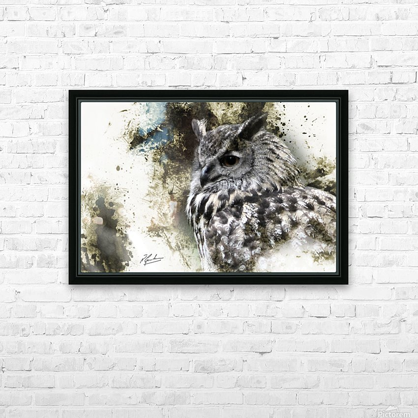 European Eagle Owl HD Sublimation Metal print with Decorating Float Frame (BOX)