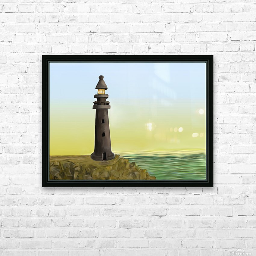 Sunset with Lighthouse HD Sublimation Metal print with Decorating Float Frame (BOX)