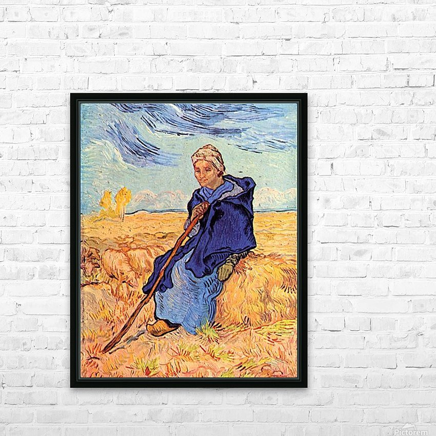 The shepherdess by Van Gogh HD Sublimation Metal print with Decorating Float Frame (BOX)
