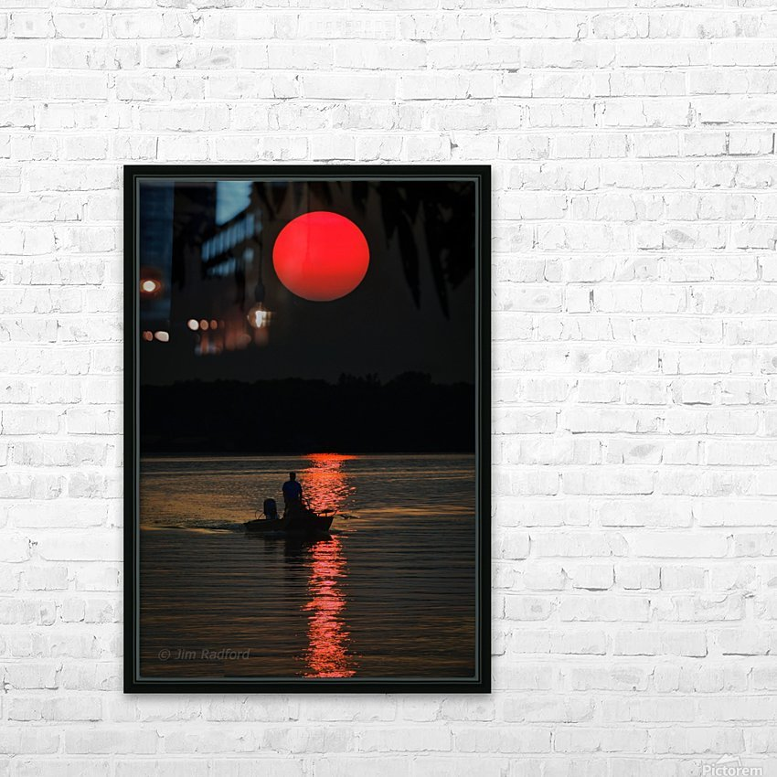 Fishing at Sunset HD Sublimation Metal print with Decorating Float Frame (BOX)