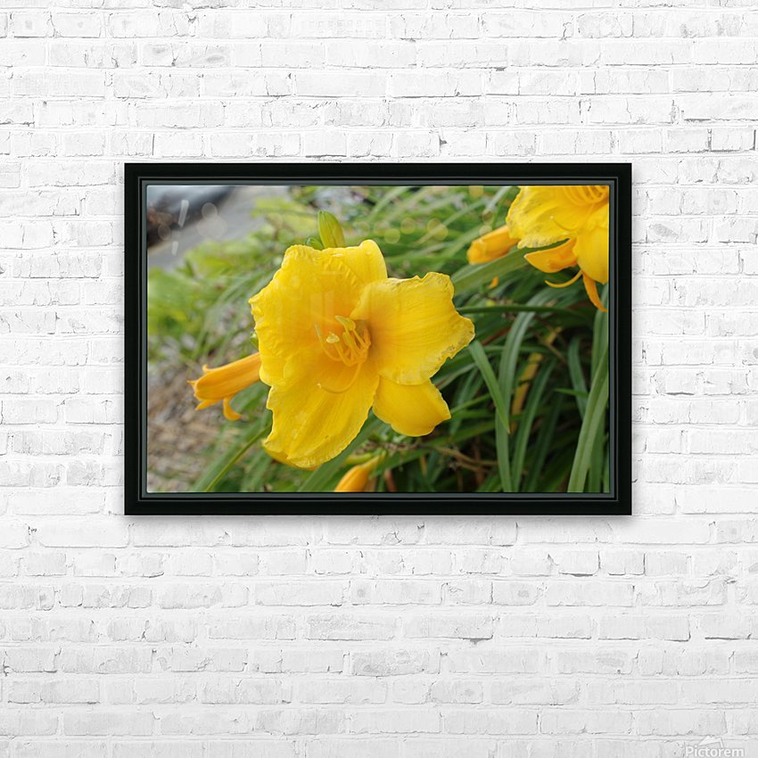 Yellow Lilly HD Sublimation Metal print with Decorating Float Frame (BOX)