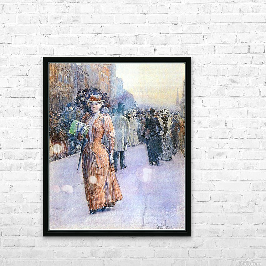 New York street scene by Hassam HD Sublimation Metal print with Decorating Float Frame (BOX)
