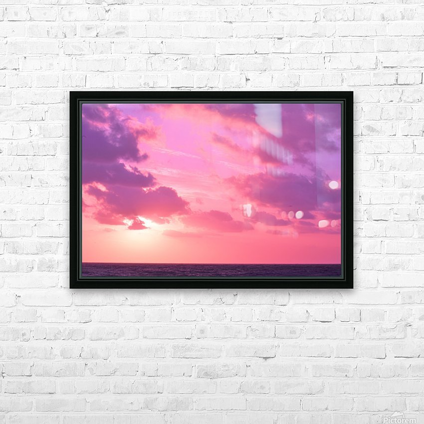 Sunset over the Sea - Shades of Pink HD Sublimation Metal print with Decorating Float Frame (BOX)