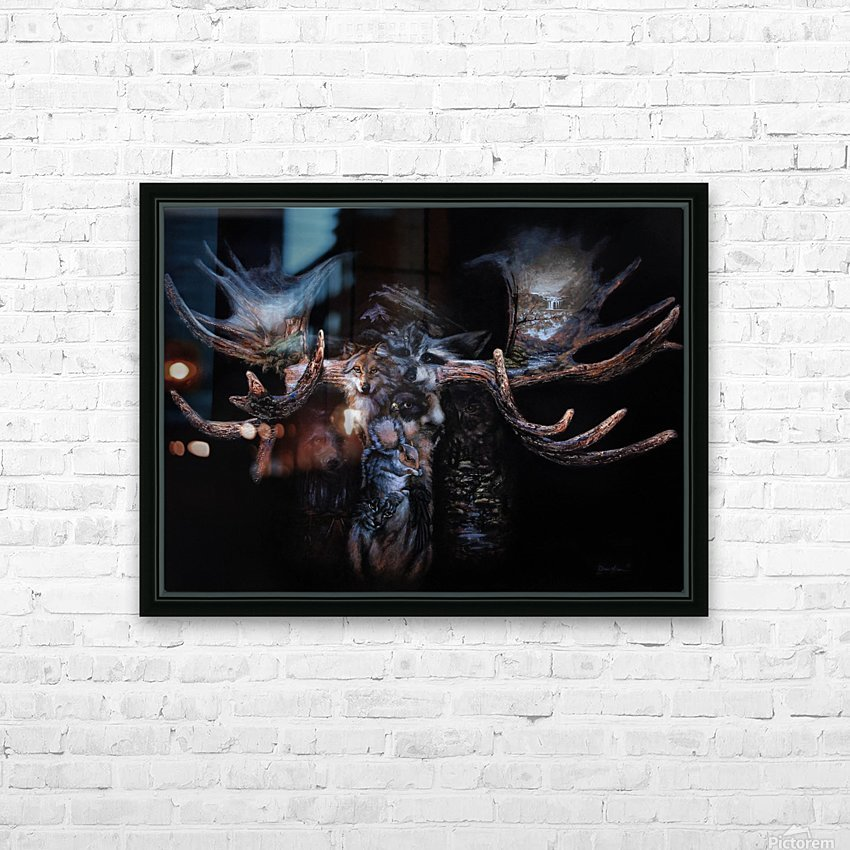 Moose Apparition  HD Sublimation Metal print with Decorating Float Frame (BOX)