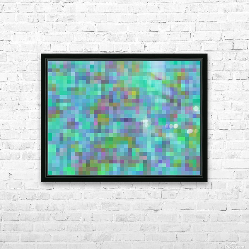 geometric square pixel pattern abstract in green blue pink HD Sublimation Metal print with Decorating Float Frame (BOX)
