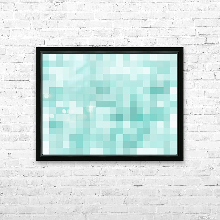 geometric square pixel pattern abstract in green HD Sublimation Metal print with Decorating Float Frame (BOX)