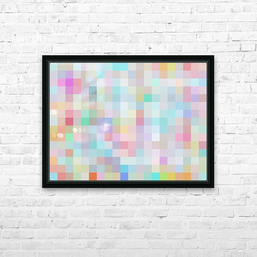 geometric square pixel pattern abstract in blue and pink HD Sublimation Metal print with Decorating Float Frame (BOX)