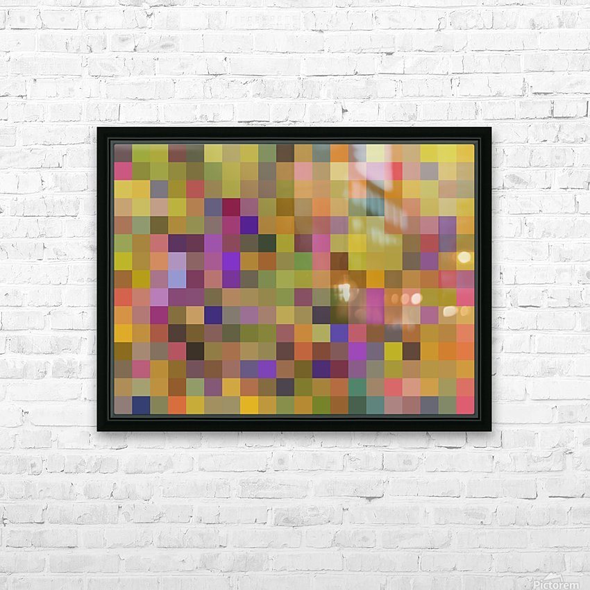 geometric square pixel pattern abstract in yellow green purple HD Sublimation Metal print with Decorating Float Frame (BOX)