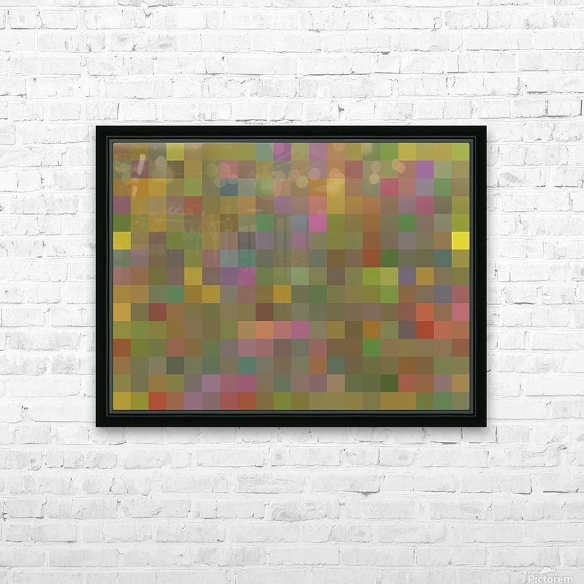 geometric square pixel pattern abstract in green pink yellow HD Sublimation Metal print with Decorating Float Frame (BOX)