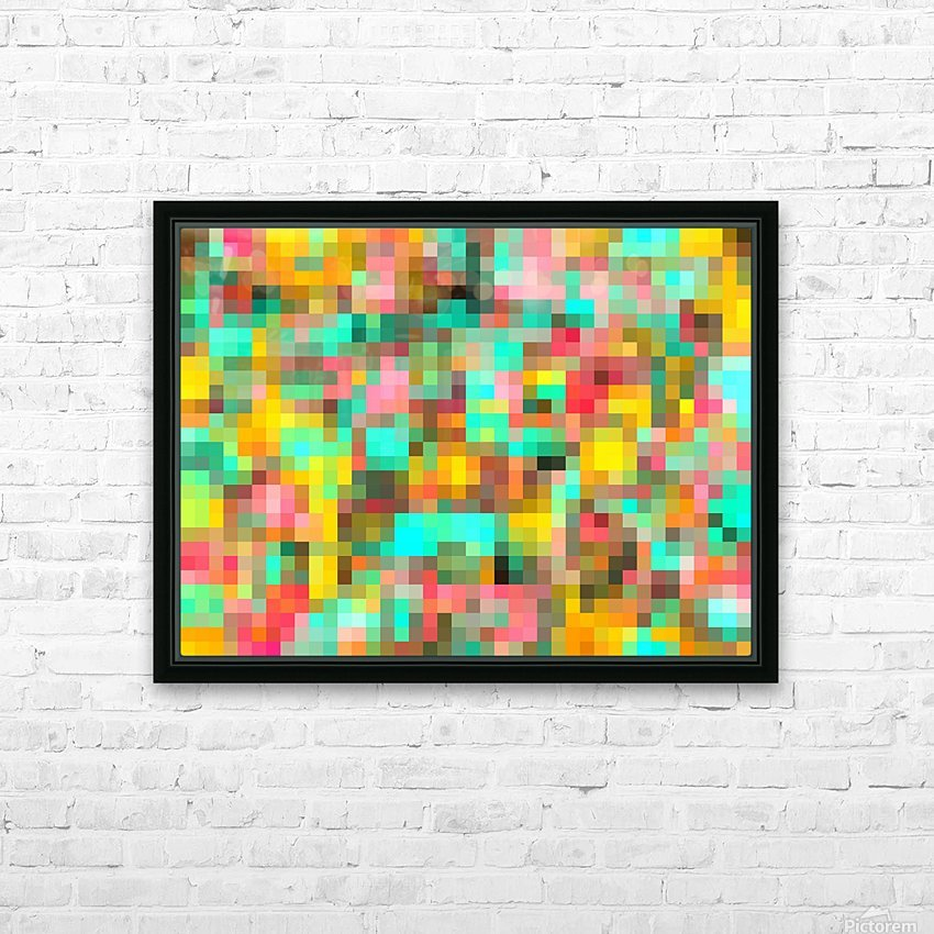geometric square pixel pattern abstract in green yellow pink HD Sublimation Metal print with Decorating Float Frame (BOX)