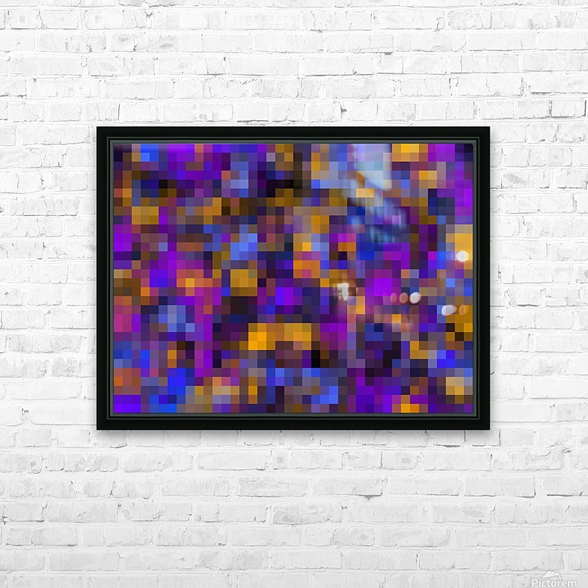 geometric square pixel pattern abstract background in blue purple yellow HD Sublimation Metal print with Decorating Float Frame (BOX)