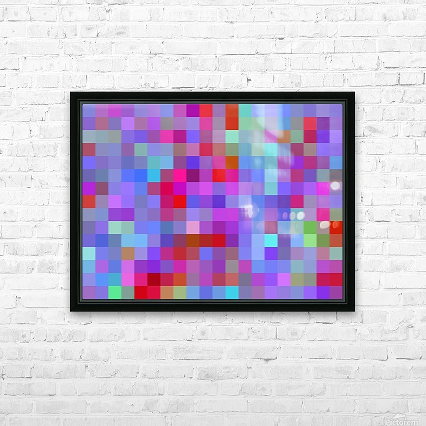 geometric square pixel pattern abstract background in pink blue purple HD Sublimation Metal print with Decorating Float Frame (BOX)