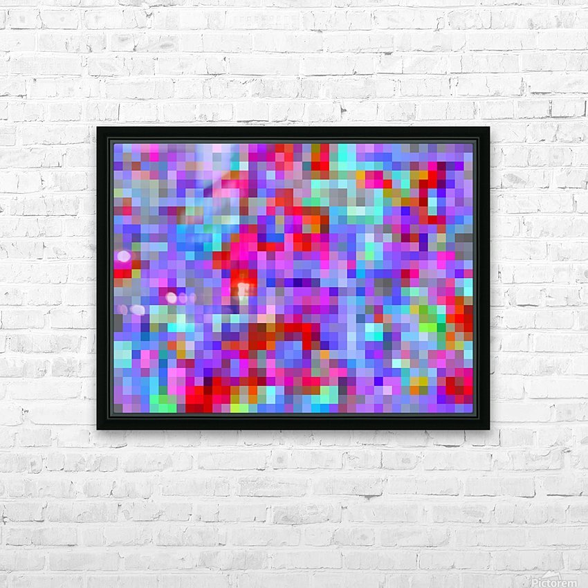 geometric square pixel pattern abstract background in blue purple pink red HD Sublimation Metal print with Decorating Float Frame (BOX)