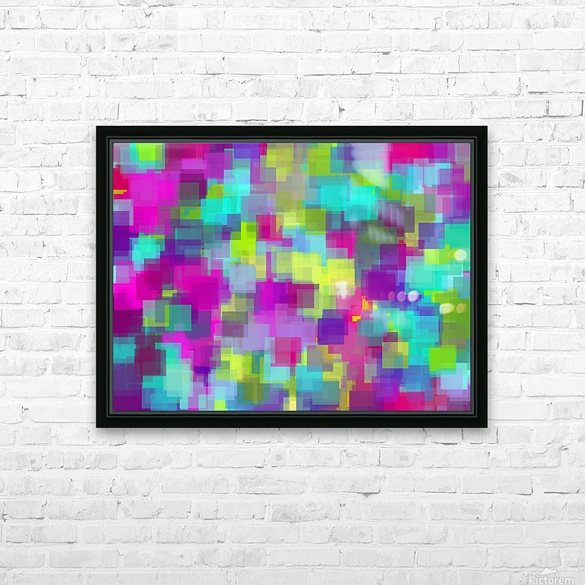 geometric square pattern abstract background in pink yellow blue HD Sublimation Metal print with Decorating Float Frame (BOX)