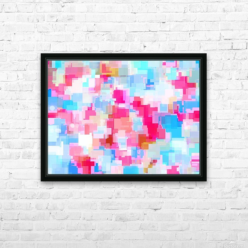 geometric square pattern abstract background in pink and blue HD Sublimation Metal print with Decorating Float Frame (BOX)
