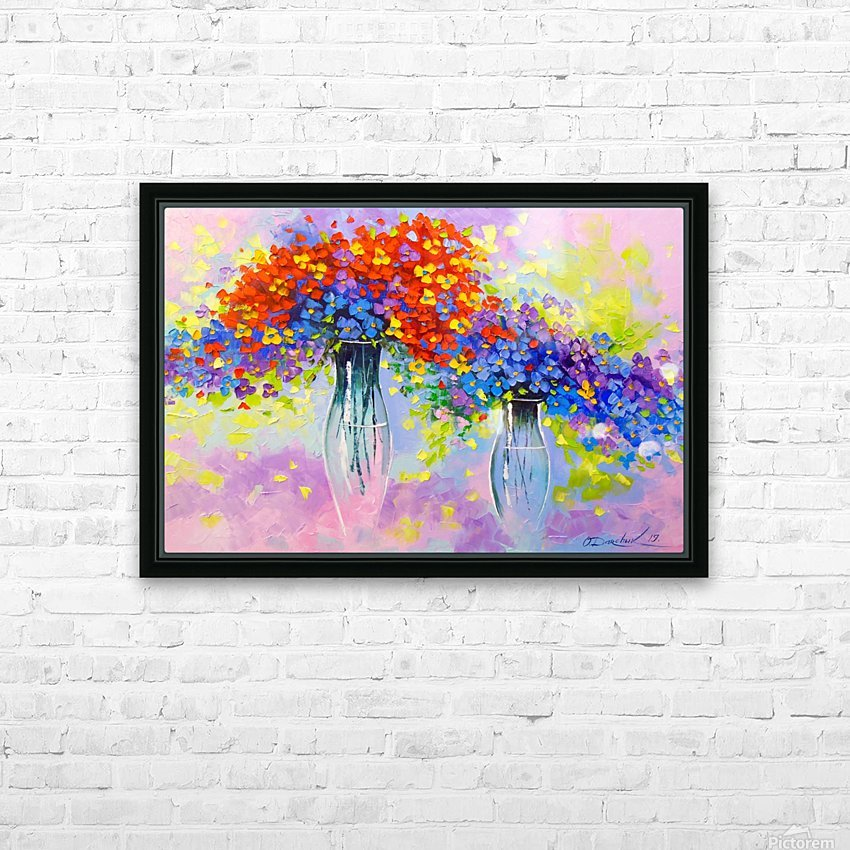 Music of multi-colored flowers HD Sublimation Metal print with Decorating Float Frame (BOX)