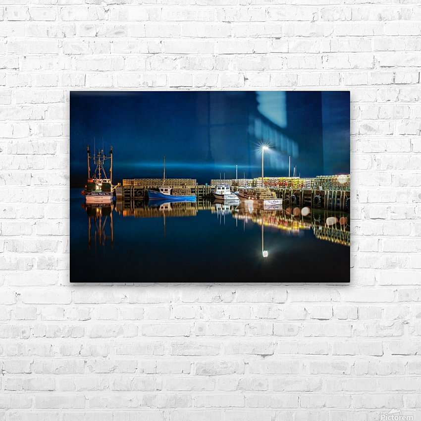 NIGHT TIME AT THE WHARF with textures HD Sublimation Metal print with Decorating Float Frame (BOX)
