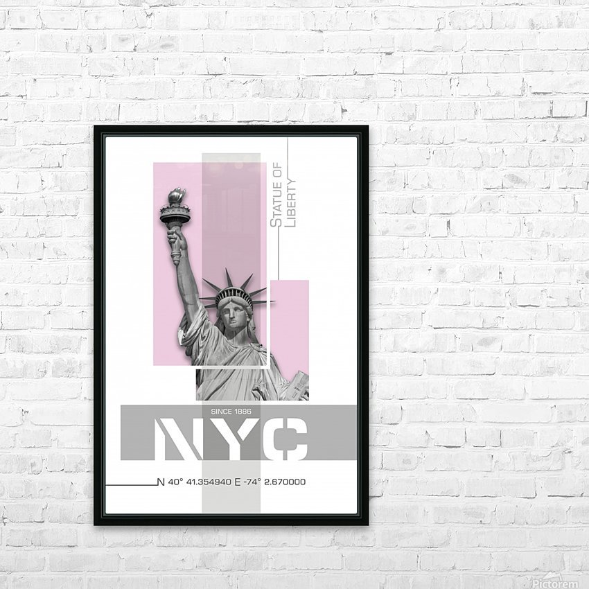 Poster Art NYC Statue of Liberty | light pink HD Sublimation Metal print with Decorating Float Frame (BOX)
