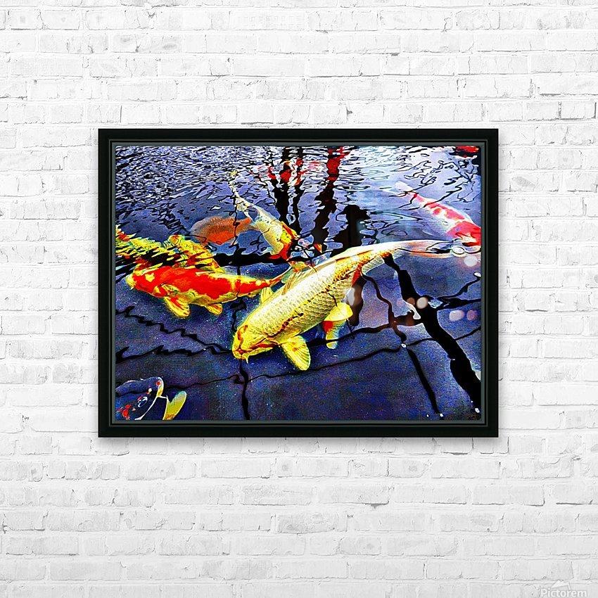 Koi Carp Huddle HD Sublimation Metal print with Decorating Float Frame (BOX)