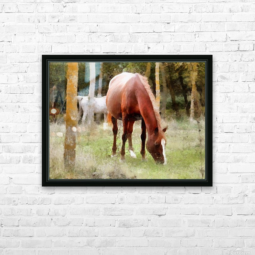 Pregnant Tan Mare Grazing HD Sublimation Metal print with Decorating Float Frame (BOX)