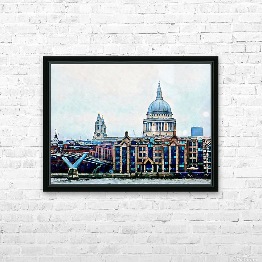 Millennium Bridge to St Pauls Cathedral London HD Sublimation Metal print with Decorating Float Frame (BOX)