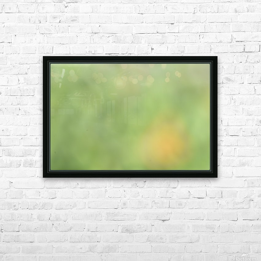 Abstract Art Bokeh - greens and yellow HD Sublimation Metal print with Decorating Float Frame (BOX)