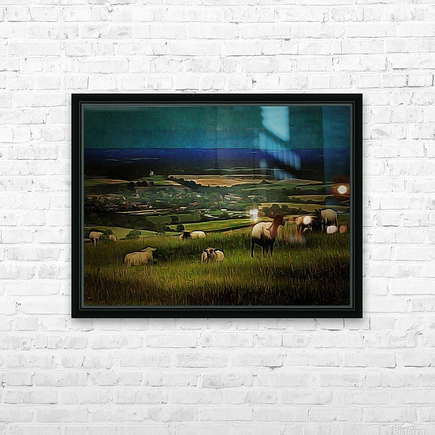 South Downs View HD Sublimation Metal print with Decorating Float Frame (BOX)