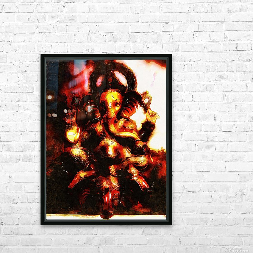 Ganesh The Elephant God HD Sublimation Metal print with Decorating Float Frame (BOX)