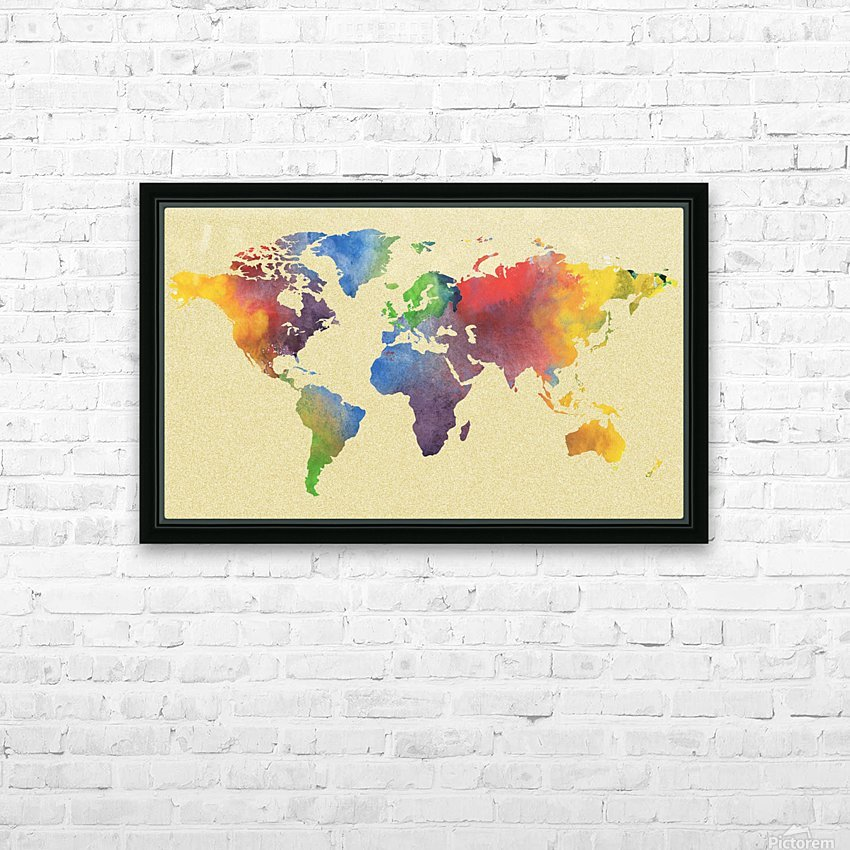 Hot And Vivid Watercolor Map Of The World HD Sublimation Metal print with Decorating Float Frame (BOX)
