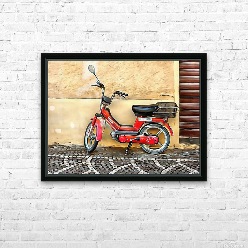 Red Piaggio Moped HD Sublimation Metal print with Decorating Float Frame (BOX)