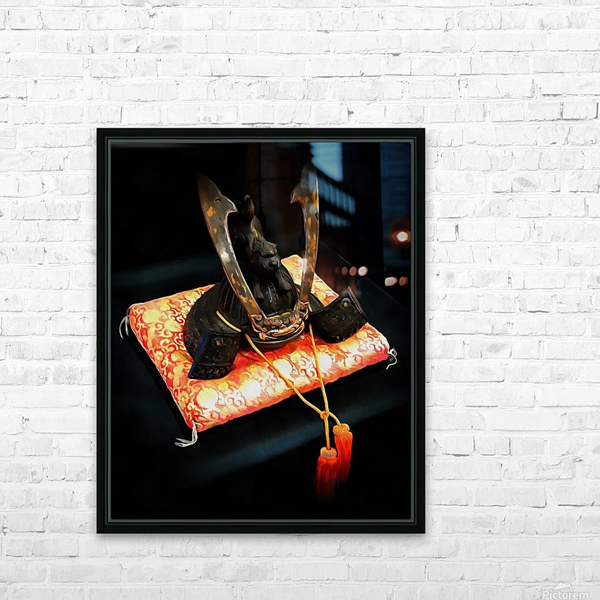 Samurai Helmet With Tassels HD Sublimation Metal print with Decorating Float Frame (BOX)