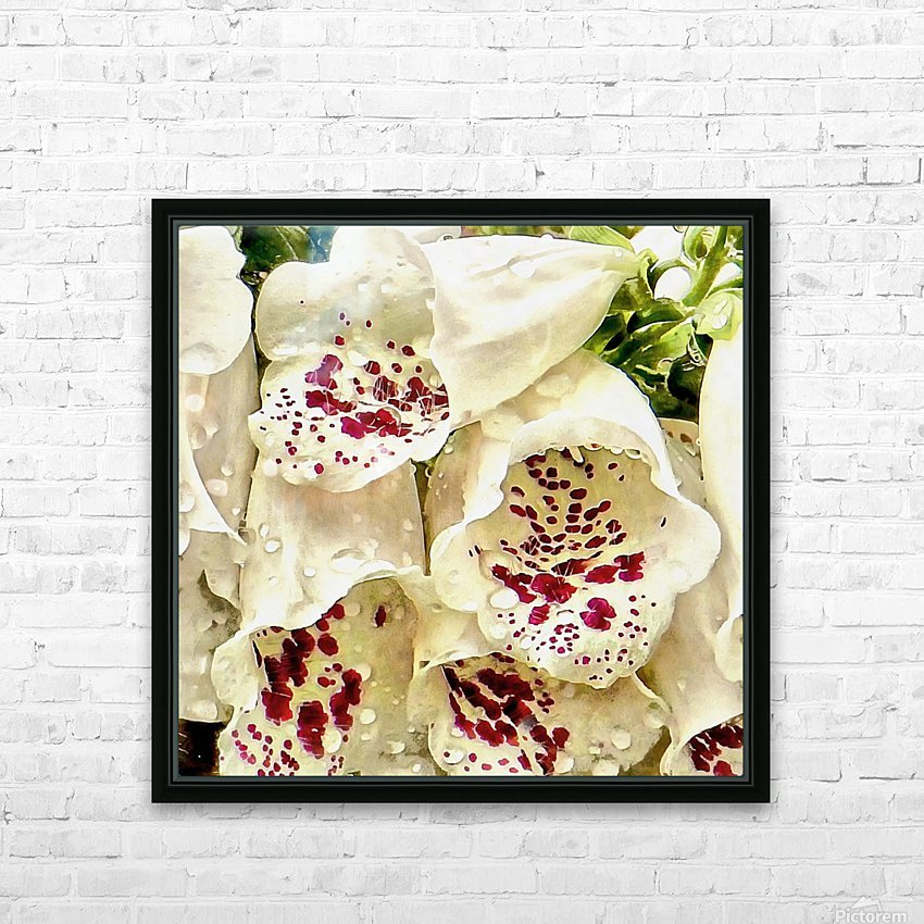 White Foxgloves with Raindrops HD Sublimation Metal print with Decorating Float Frame (BOX)