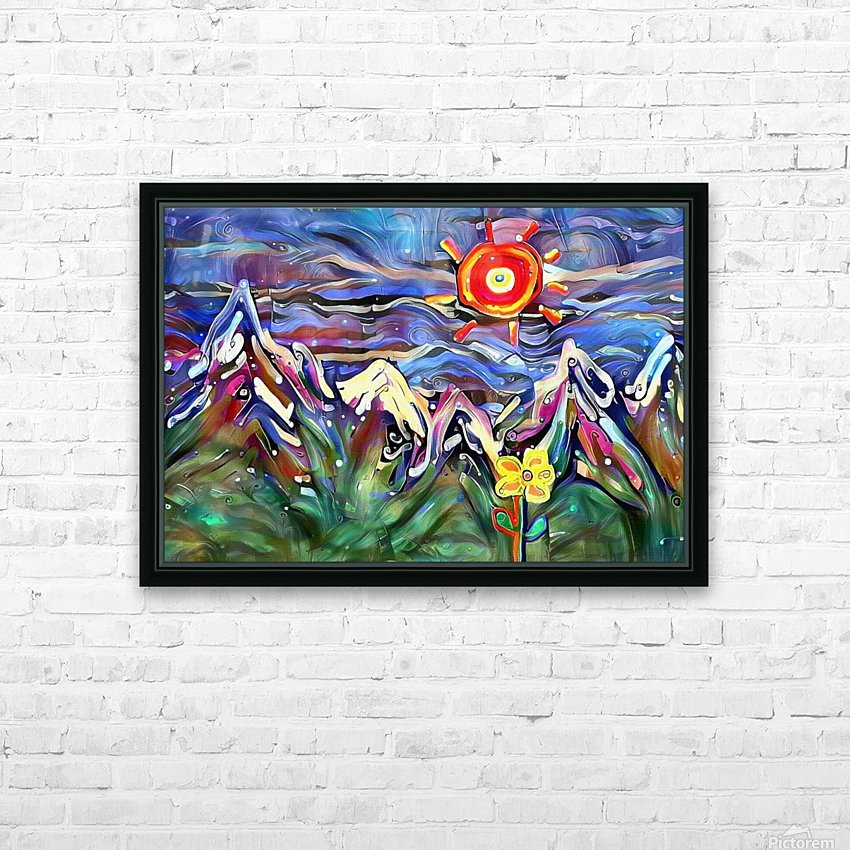 Mountain Landscape with Flowers HD Sublimation Metal print with Decorating Float Frame (BOX)