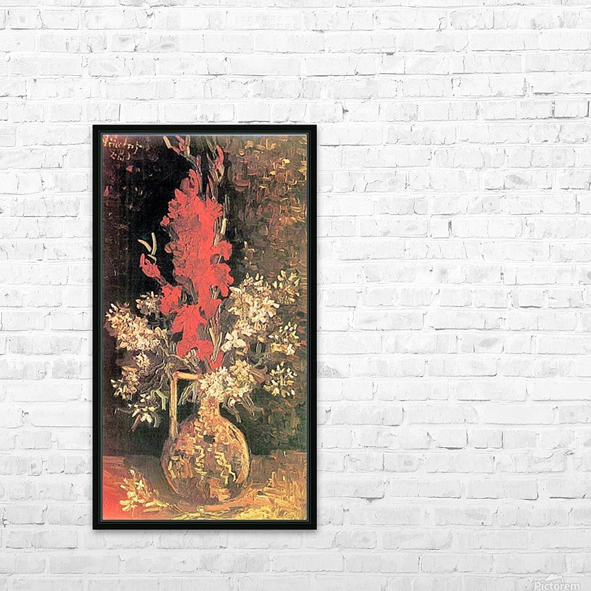 Vase with Gladiolas and Carnations by Van Gogh HD Sublimation Metal print with Decorating Float Frame (BOX)