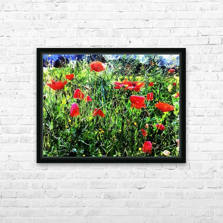 Green Pasture With Red Poppies HD Sublimation Metal print with Decorating Float Frame (BOX)