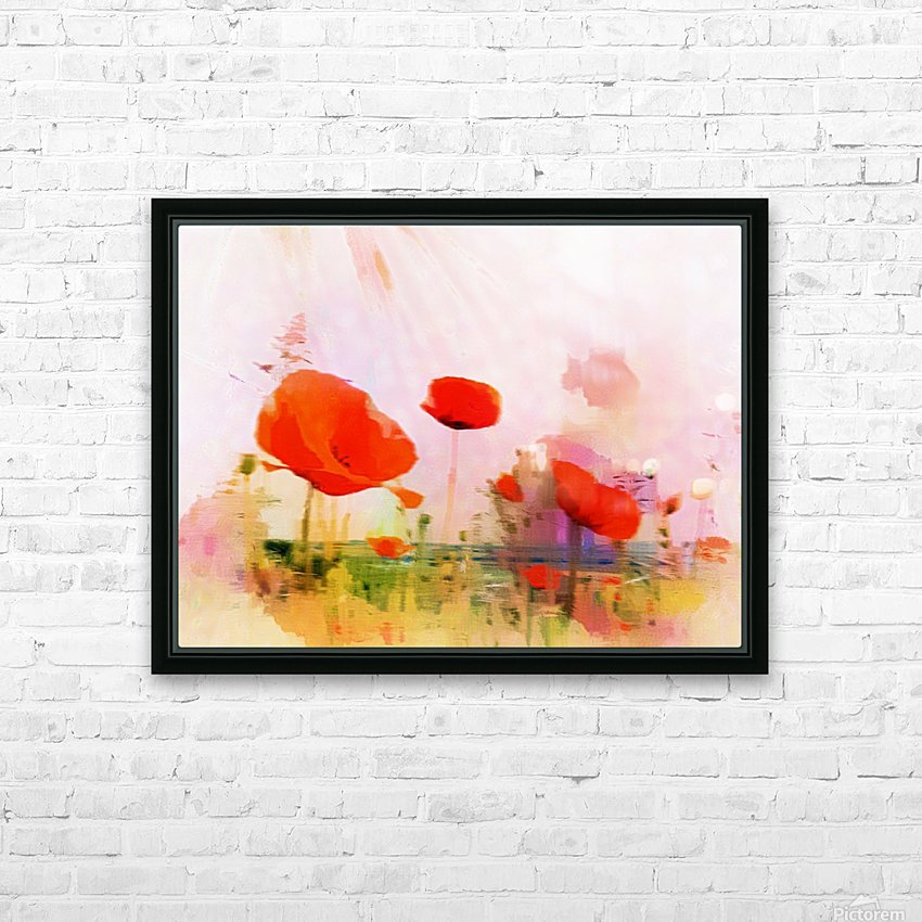 Poppies In Impression HD Sublimation Metal print with Decorating Float Frame (BOX)