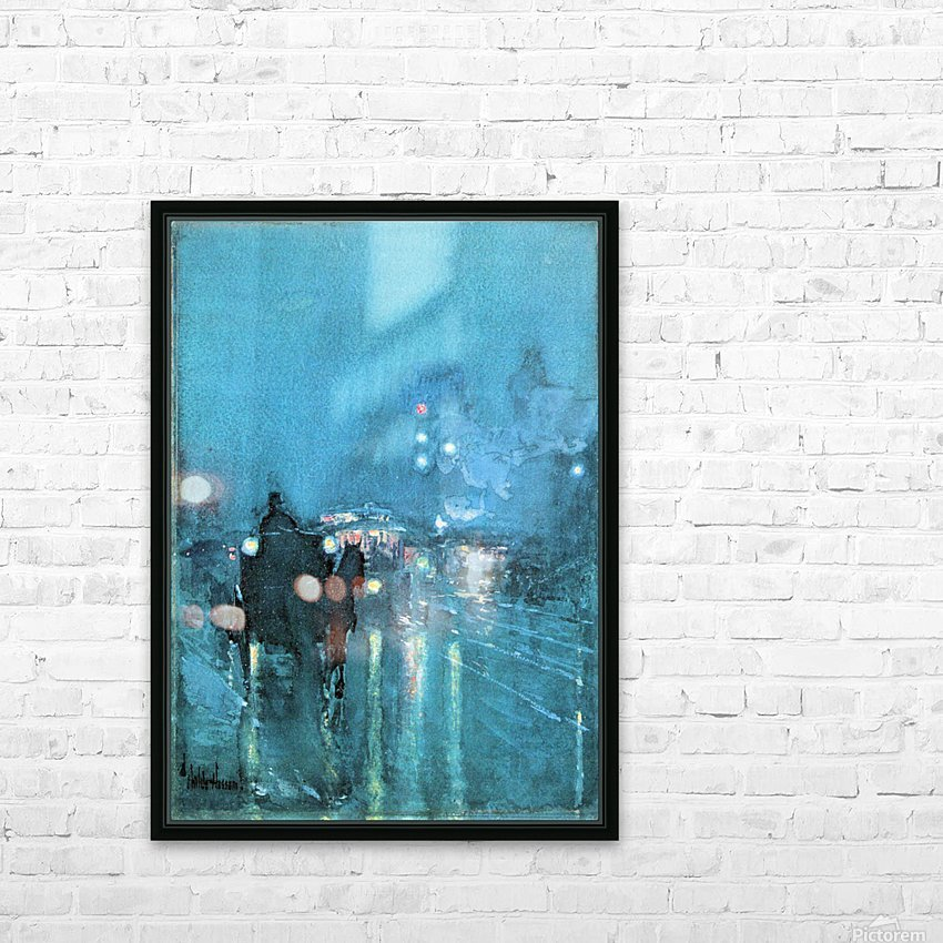 Nocturne, Railway Crossing, Chicago by Hassam HD Sublimation Metal print with Decorating Float Frame (BOX)