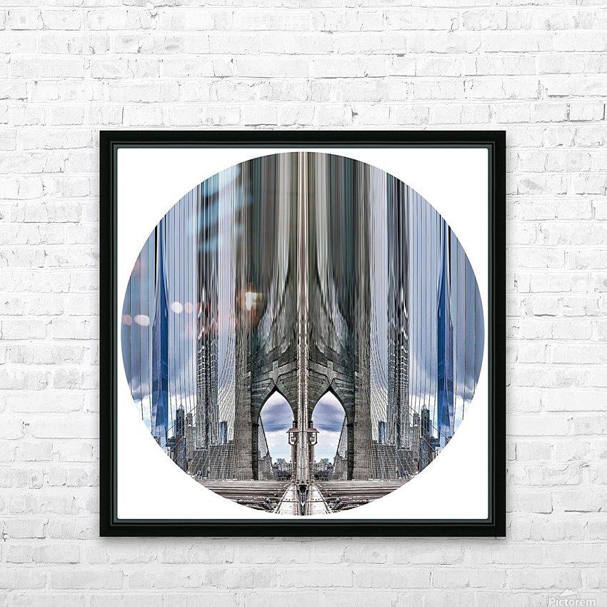 New York vue du pont de Brooklyn - rond HD Sublimation Metal print with Decorating Float Frame (BOX)