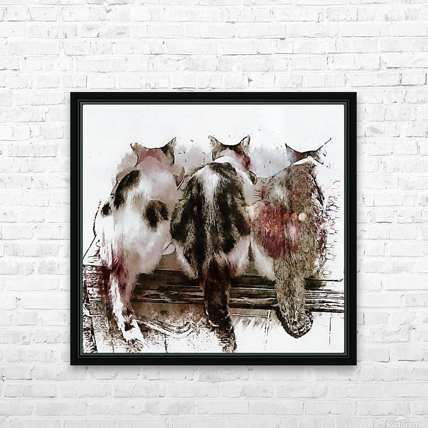 Feline Chow Time HD Sublimation Metal print with Decorating Float Frame (BOX)