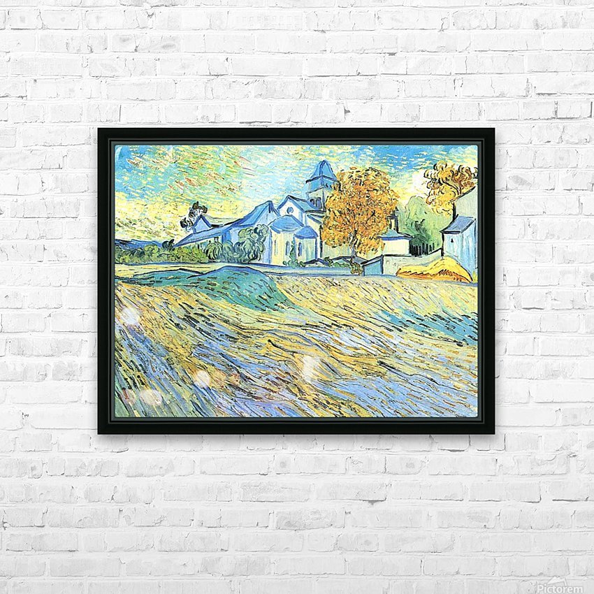 View of the church of Saint-Paul-de-Mausole by Van Gogh HD Sublimation Metal print with Decorating Float Frame (BOX)