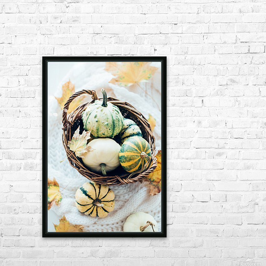 Autumn pumpkins in a basket HD Sublimation Metal print with Decorating Float Frame (BOX)