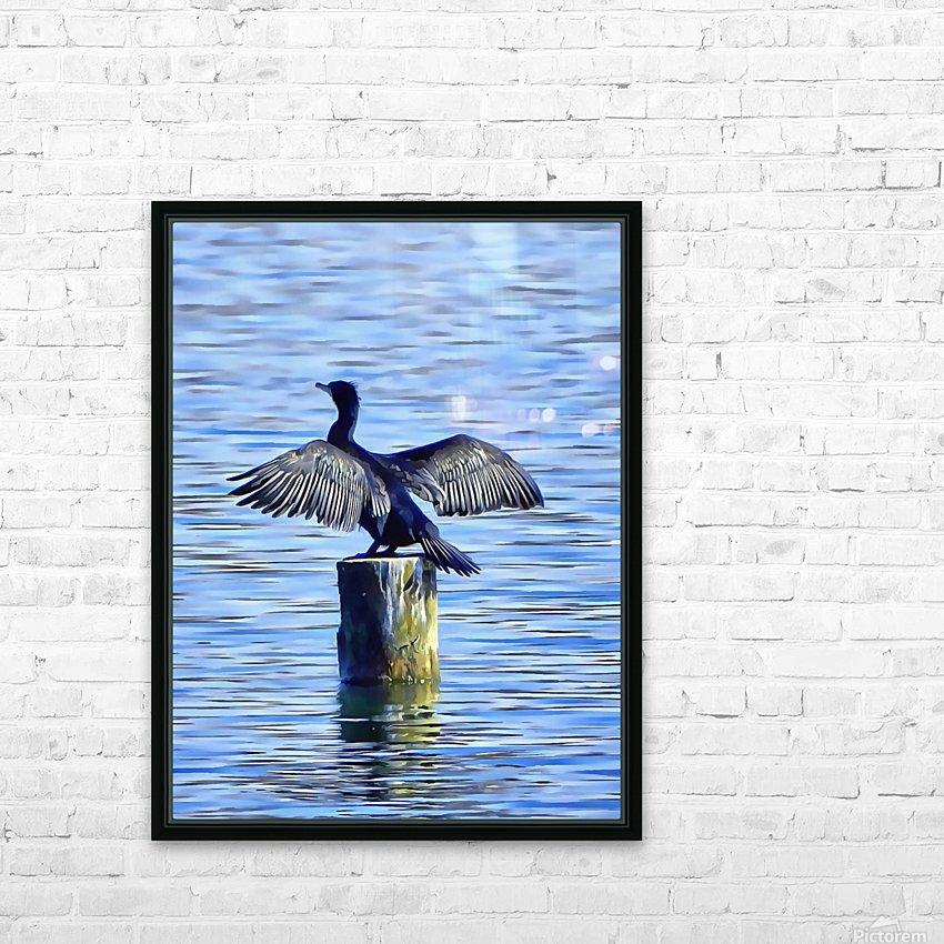 Cormorant Drying  His Wings HD Sublimation Metal print with Decorating Float Frame (BOX)