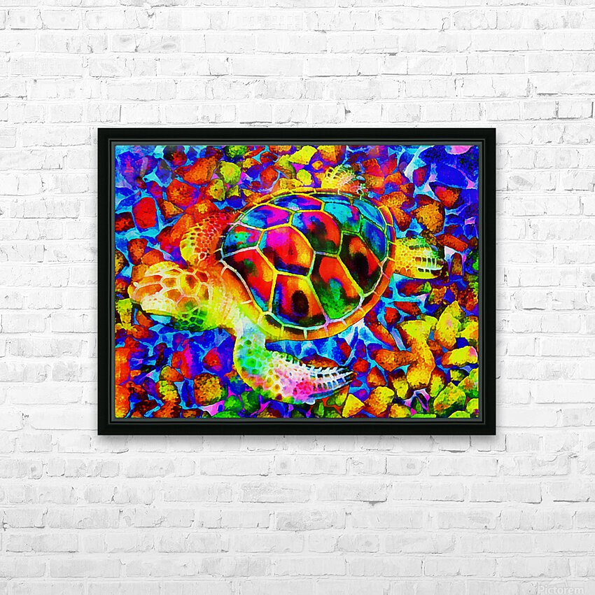 Rainbow Turtle HD Sublimation Metal print with Decorating Float Frame (BOX)