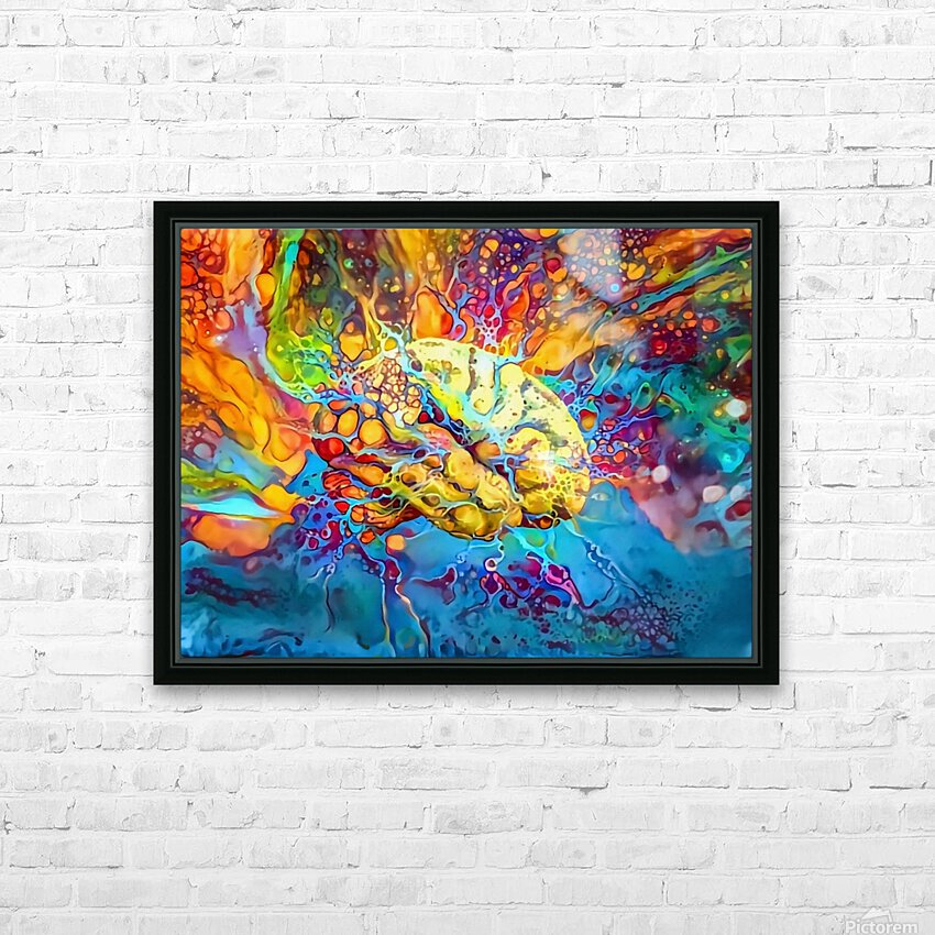 Psychedelic Brain HD Sublimation Metal print with Decorating Float Frame (BOX)