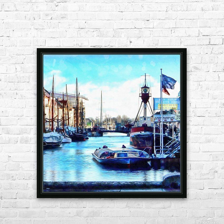 Looking Along Nyhavn Harbour Denmark HD Sublimation Metal print with Decorating Float Frame (BOX)