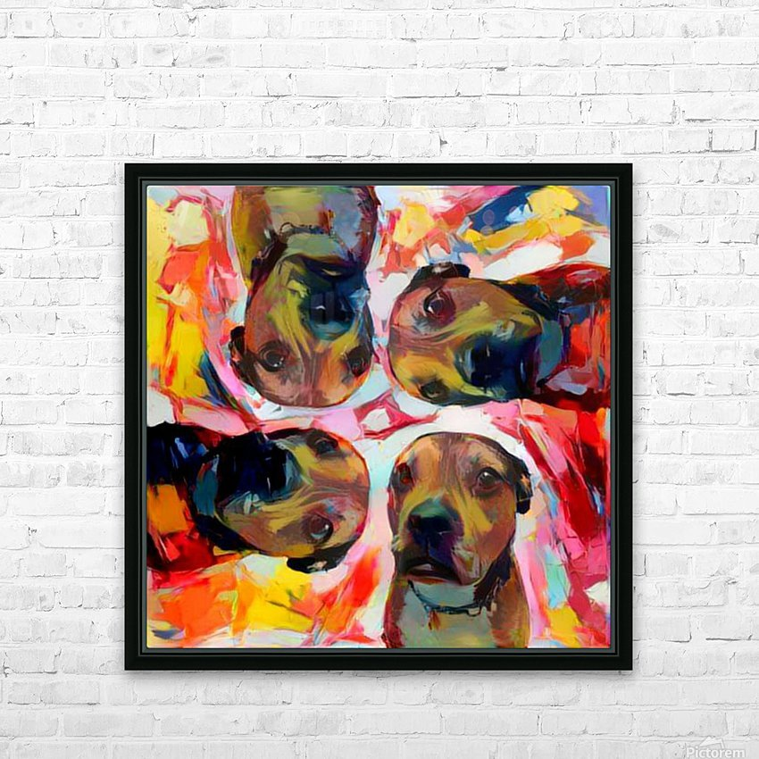 Dog Painting (8) HD Sublimation Metal print with Decorating Float Frame (BOX)