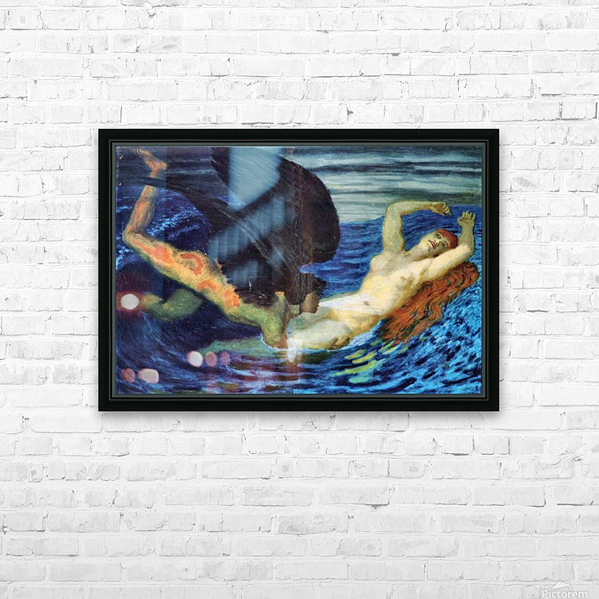 Wind and Wave by Franz von Stuck HD Sublimation Metal print with Decorating Float Frame (BOX)
