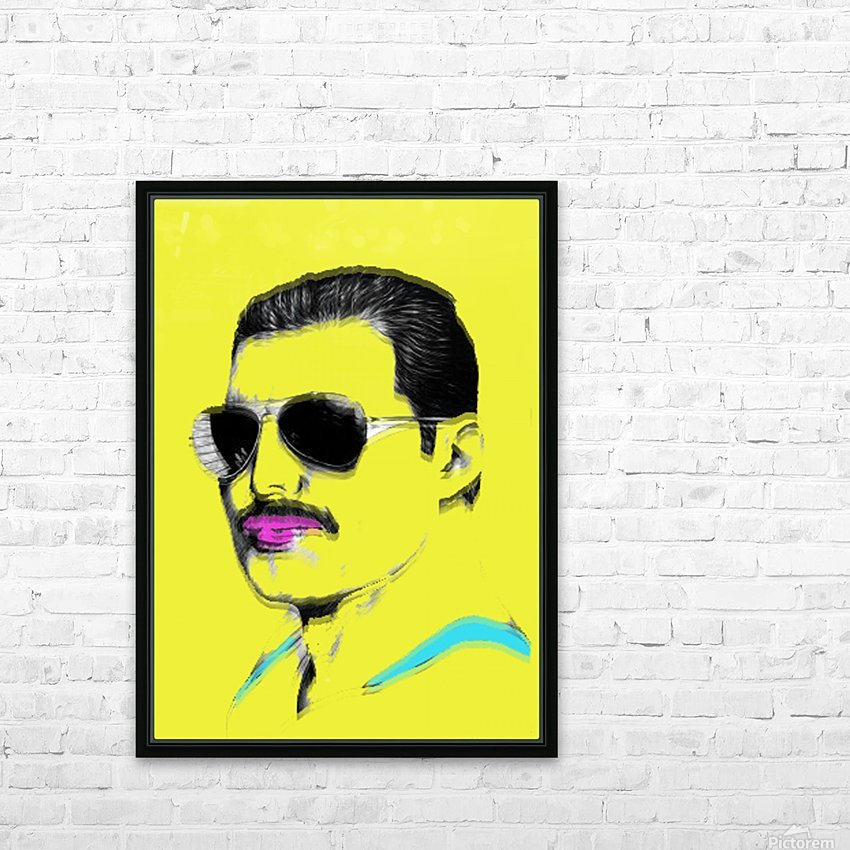 Yellow Freddie Mercury HD Sublimation Metal print with Decorating Float Frame (BOX)