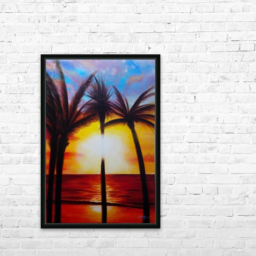 Waikiki Sunset HD Sublimation Metal print with Decorating Float Frame (BOX)
